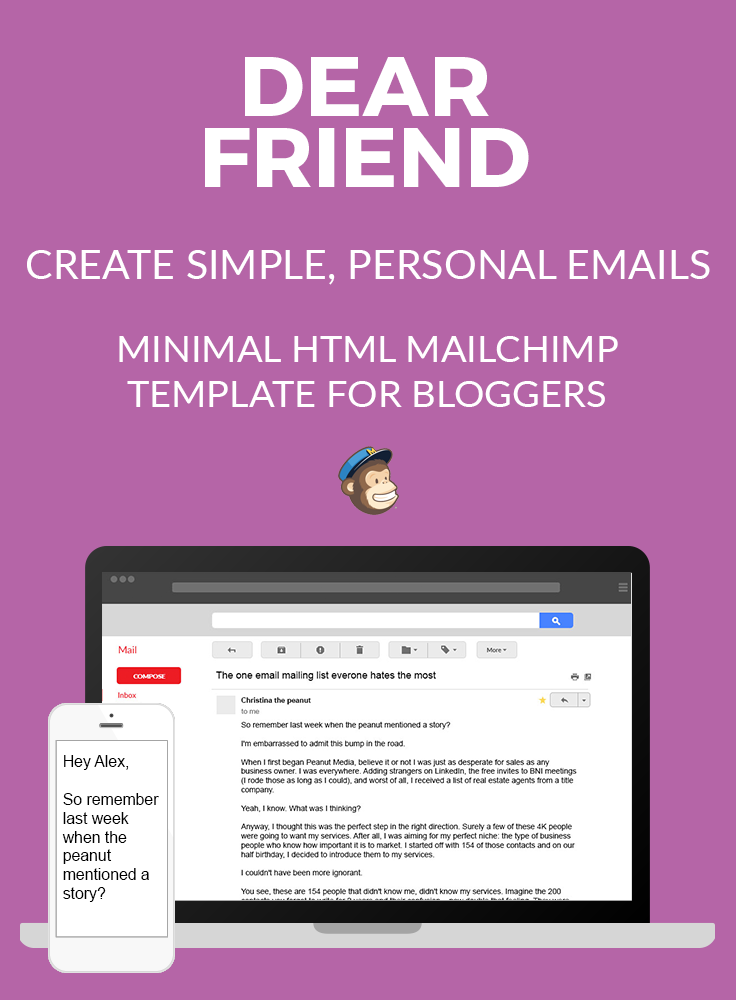 Dear Friend simple email template blog pin